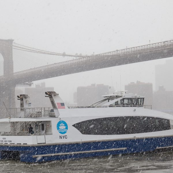 Wednesday, March 21, 2018. Brooklyn, New York City - Today was the first day of Spring, but it feels like Winter. It is snowing at the Brooklyn Bridge Park. A beautiful Winter-Spring day! Photo by Javier Soriano/LoveIsAmor.com