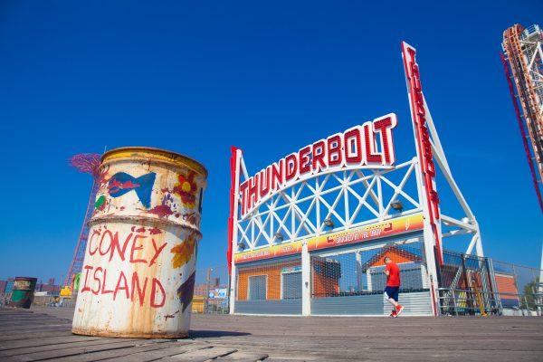 9/5/2018 Boardwalk, Parachute Jump, Thunderbolt and trash can. Coney Island. Brooklyn, New York City. Credit: Photo by LoveIsAmor.com