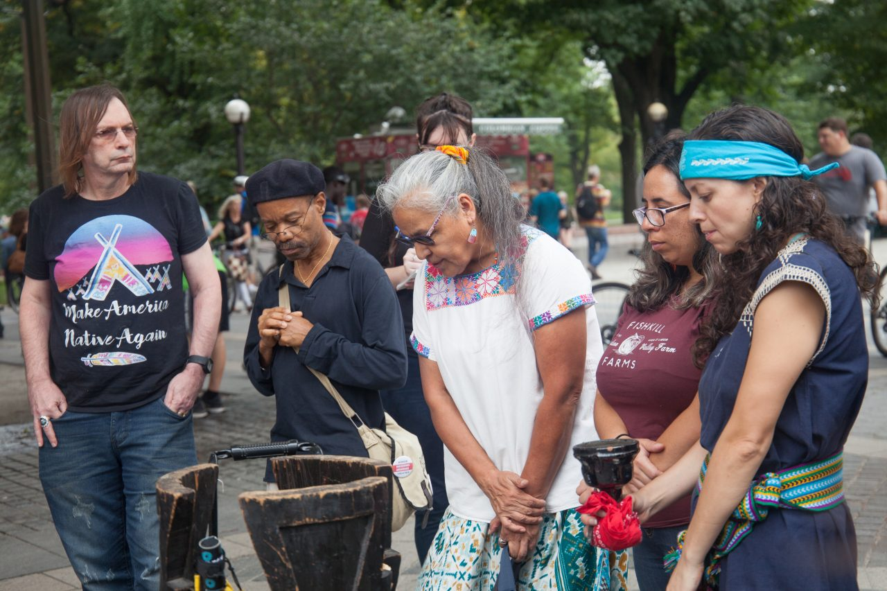 Sunday, October 7th, 2018. Columbus Circle. West 59th Street and Central Park West. Manhattan, New York City - Indigenous people and their allies at the 11th Annual Indigenous Day of Remembrance. Credit: Photo by LoveIsAmor.com