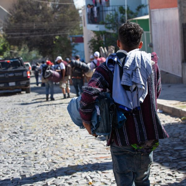 "Tlaquepaque, Guadalajara. Jalisco, Mexico. Monday, November 19th, 2018. Refugees walking to Sinaloa. Hundreds of refugees fleeing violence and extreme poverty in Central America have been staying at ""El Refugio. Casa del Migrante"" for one or two days. Some of these immigrants are part of the second caravan and third caravan. Refugees want to travel to Tijuana, Baja California and apply for asylum in the United States of America. Credit: Photo by LoveIsAmor.com"