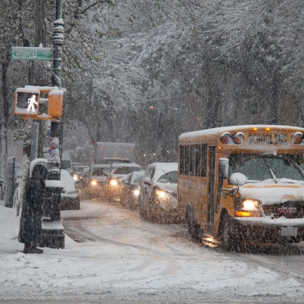 Thursday, November 15th, 2018. A yellow school bus. Today was the first snowfall in Brooklyn, New York City. Credit: Photo by LoveIsAmor.com