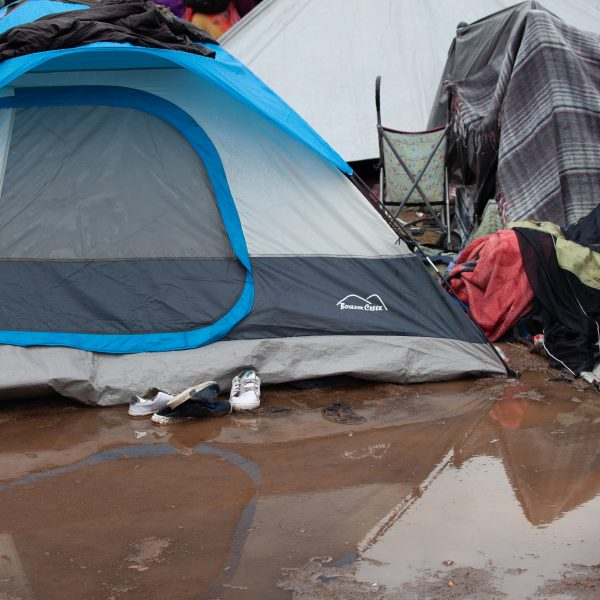 Tijuana, Baja California. Mexico. Thursday, November 29th, 2018. It was raining last night and it was raining all day today. The Mexican government needs to find a shelter for the refugees where they can be protected from the rain and cold. Refugees are staying at Unidad Deportiva Benito Juárez (an improvised shelter for the caravans of immigrants). Refugees are fleeing violence in their countries in Central America. They want to apply for asylum in the United States of America. They were told they have to wait more than a month to apply for asylum. Credit: Photo by LoveIsAmor.com