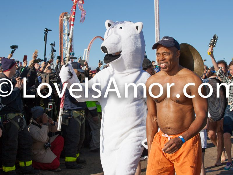 Coney island, Brooklyn. New York City. Tuesday, January 1, 2019 - Today was the New Year's Day Polar Bear Plunge at Coney Island, New York City. The shirtless Black man is Eric Leroy Adams, the Borough President of Brooklyn. Credit: Photo by LoveIsAmor.com