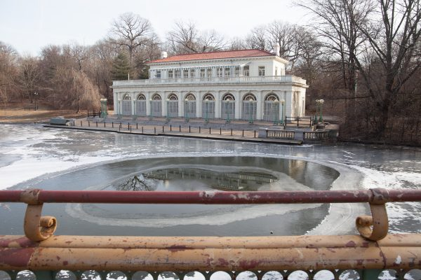 Brooklyn, New York City. Saturday, February 2, 2019 - Most of the lake in front of the Boathouse + Audubon Center in Prospect Park is frozen. Credit: Photo by LoveIsAmor.com