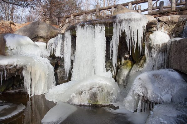 Brooklyn, New York City. Saturday, February 2, 2019 - A waterfall in Prospect Park is frozen. Credit: Photo by LoveIsAmor.com