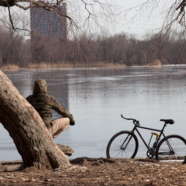 Brooklyn, New York City. Saturday, February 2, 2019 - A man and his bicycle in Prospect Park. Credit: Photo by LoveIsAmor.com