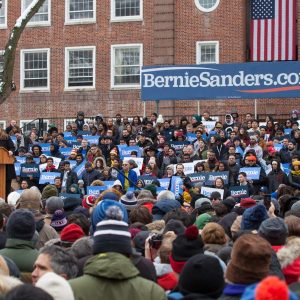 Saturday, March 2, 2019. New York City - Supporters of United States of America Senator and 2020 presidential candidate Bernie Sanders listening to Jane O'Meara Sanders. Photo by LoveIsAmor.com