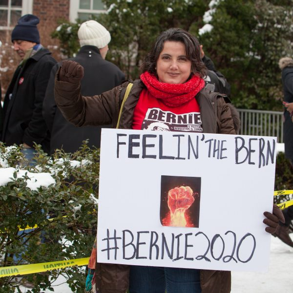 Saturday, March 2, 2019. Brooklyn College. Brooklyn, New York City - A supporter of the United States of America Senator and 2020 presidential candidate, Bernie Sanders. Credit: Photo by LoveIsAmor.com