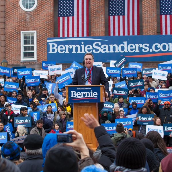 Saturday, March 2, 2019. Brooklyn College. Brooklyn, New York City. Jean-Michel Picher is testing the sound to make sure microphones are working perfectly. People waiting for U.S. Senator and presidential candidate Bernie Sanders. Today was the first rally of Senator Bernie Sanders 2020 presidential campaign. Credit: Photo by LoveIsAmor.com