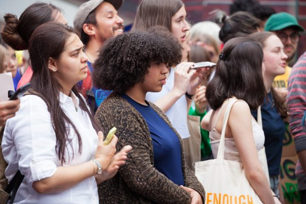 """Friday, May 24th, 2019. New York City - Today was the 2nd Global Climate Strike. Hundreds of students, some teachers, parents and other people gathered at Columbus Circle and then marched to Times Square in Manhattan. They demanded that """"NYC Mayor (and U. S. presidential candidate) Bill de Blasio follow the UK, Ireland and countless cities around the world who have declared a Climate Emergency."""" More than 1 million students, teachers, parents, politicians and other people from around the world went on strike in protest of the climate crisis. Credit: Photo by LoveIsAmor.com"""
