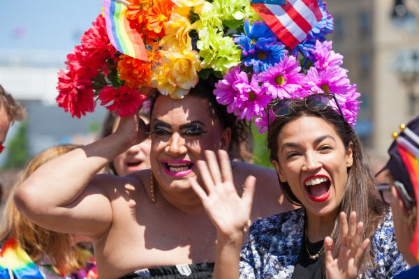 Sunday, June 23rd, 2019. Bronx, New York City - Today was the 1 Bronx World Pride Rally, March and Festival. Today people celebrated Bronx World Pride, Pride Month and the 50th anniversary of the Stonewall Rebellion. Alexandria Ocasio-Cortez Congresswoman for New York's 14th congressional district: Bronx - Queens, was one of the speakers. AOC (often referred to by her initials) with Drag Queen Appolonia Cruz. Credit: Photo by LoveIsAmor.com