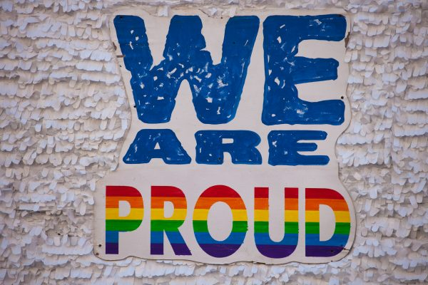 "Saturday, June 8th, 2019. Brooklyn, New York City - Sign reads: ""We are proud"" at the Brooklyn Pride Parade/March. This year, Brooklyn celebrated the 23rd Annual Brooklyn Pride Parade/March. Brooklyn Pride was ranked within the top 10 of the 20 best places in the US to celebrate pride by matadornetwork.com. This year is the 50th anniversary of the Stonewall revolution. Credit: Photo by LoveIsAmor.com"