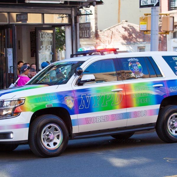 Saturday, June 8th, 2019. Brooklyn, New York City - NYPD car at the Brooklyn Pride Parade/March. This year, Brooklyn celebrated the 23rd Annual Brooklyn Pride Parade/March. Brooklyn Pride was ranked within the top 10 of the 20 best places in the US to celebrate pride by matadornetwork.com. This year is the 50th anniversary of the Stonewall revolution. Credit: Photo by LoveIsAmor.com