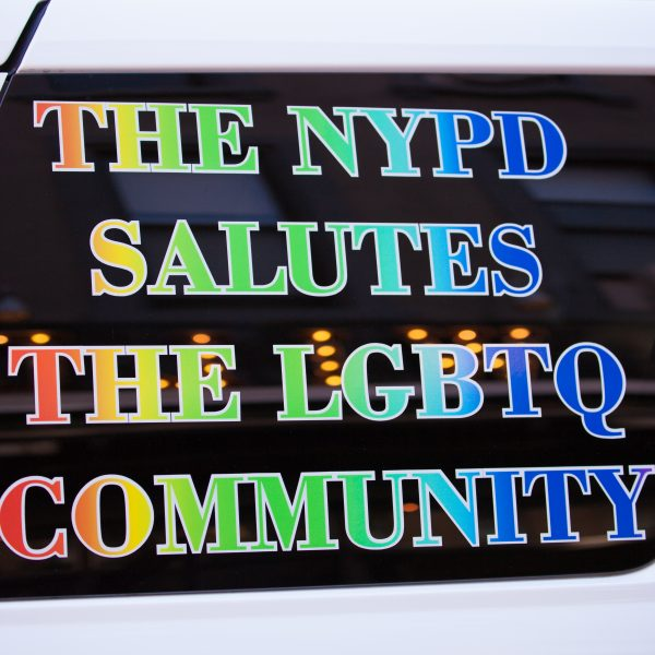 "Saturday, June 8th, 2019. Brooklyn, New York City - NYPD car at the Brooklyn Pride Parade/March. The sign reads: ""The NYPD salutes the LGBTQ community"". This year, Brooklyn celebrated the 23rd Annual Brooklyn Pride Parade/March. Brooklyn Pride was ranked within the top 10 of the 20 best places in the US to celebrate pride by matadornetwork.com. This year is the 50th anniversary of the Stonewall revolution. Credit: Photo by LoveIsAmor.com"
