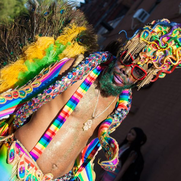 Saturday, June 8th, 2019. Brooklyn, New York City - Black man wearing a beautiful costume at the Brooklyn Pride Parade/March. This year, Brooklyn celebrated the 23rd Annual Brooklyn Pride Parade/March. Brooklyn Pride was ranked within the top 10 of the 20 best places in the US to celebrate pride by matadornetwork.com. This year is the 50th anniversary of the Stonewall revolution. Credit: Photo by LoveIsAmor.com