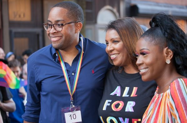 """Saturday, June 8th, 2019. Brooklyn, New York City - Letitia """"Tish"""" James, 67th Attorney General for the State of New York at Brooklyn Pride Parade/March. This year, Brooklyn celebrated the 23rd Annual Brooklyn Pride Parade/March. Brooklyn Pride was ranked within the top 10 of the 20 best places in the US to celebrate pride by matadornetwork.com. This year is the 50th anniversary of the Stonewall revolution. Credit: Photo by LoveIsAmor.com"""