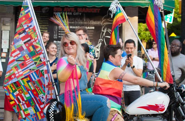 Saturday, June 8th, 2019. Brooklyn, New York City - Women riding a motorcycle and having a great time at the Brooklyn Pride Parade/March. This year, Brooklyn celebrated the 23rd Annual Brooklyn Pride Parade/March. Brooklyn Pride was ranked within the top 10 of the 20 best places in the US to celebrate pride by matadornetwork.com. This year is the 50th anniversary of the Stonewall revolution. Credit: Photo by LoveIsAmor.com