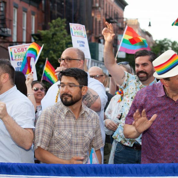 Saturday, June 8th, 2019. Brooklyn, New York City - Speaker of the New York City Council, and City Council member for the 3rd District Corey Johnson, New York City Council member for the 38 District Carlos Menchaca, New York City Council member for the 39th District Brad Lander and other council members at the Brooklyn Pride Parade/March. This year, Brooklyn celebrated the 23rd Annual Brooklyn Pride Parade/March. Brooklyn Pride was ranked within the top 10 of the 20 best places in the US to celebrate pride by matadornetwork.com. This year is the 50th anniversary of the Stonewall revolution. Credit: Photo by LoveIsAmor.com