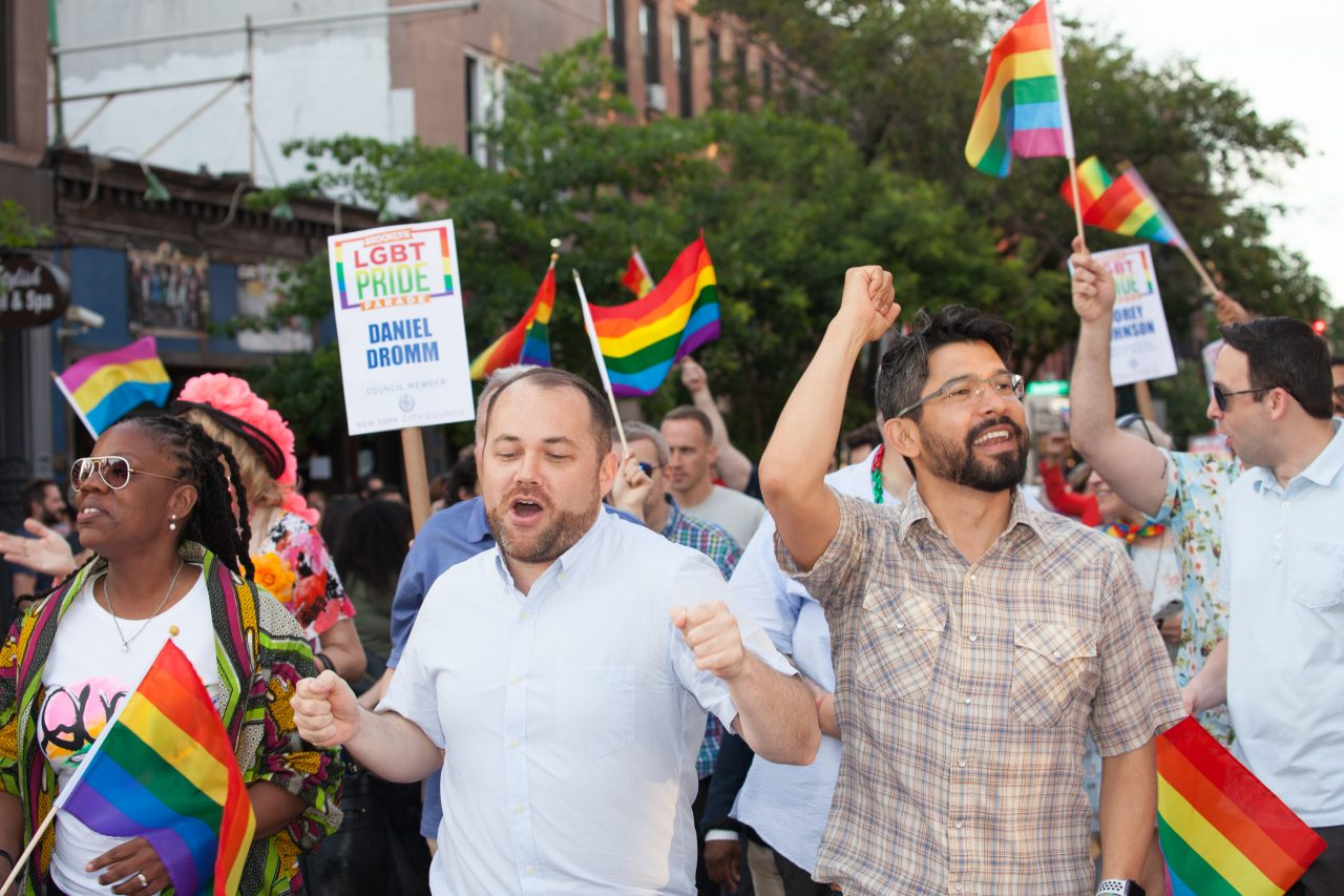 Saturday, June 8th, 2019. Brooklyn, New York City - Speaker of the New York City Council, and City Council member for the 3rd District Corey Johnson, New York City Council member for the 38 District Carlos Menchaca and other council members at the Brooklyn Pride Parade/March. This year, Brooklyn celebrated the 23rd Annual Brooklyn Pride Parade/March. Brooklyn Pride was ranked within the top 10 of the 20 best places in the US to celebrate pride by matadornetwork.com. This year is the 50th anniversary of the Stonewall revolution. Credit: Photo by LoveIsAmor.com