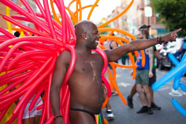 Saturday, June 8th, 2019. Brooklyn, New York City - Black man dancing and having a great time at the Brooklyn Pride Parade/March. This year, Brooklyn celebrated the 23rd Annual Brooklyn Pride Parade/March. Brooklyn Pride was ranked within the top 10 of the 20 best places in the US to celebrate pride by matadornetwork.com. This year is the 50th anniversary of the Stonewall revolution. Credit: Photo by LoveIsAmor.com