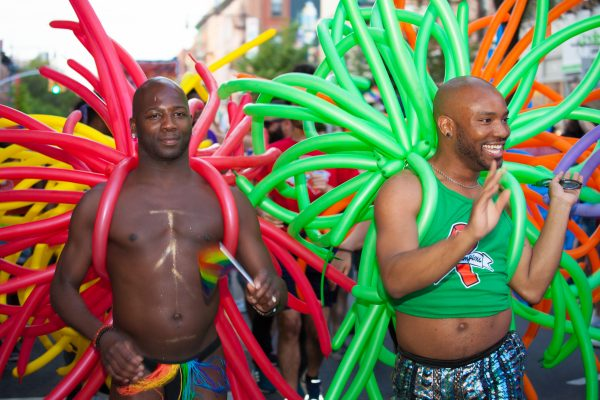 Saturday, June 8th, 2019. Brooklyn, New York City - Two Black men dancing and having a great time at the Brooklyn Pride Parade/March. This year, Brooklyn celebrated the 23rd Annual Brooklyn Pride Parade/March. Brooklyn Pride was ranked within the top 10 of the 20 best places in the US to celebrate pride by matadornetwork.com. This year is the 50th anniversary of the Stonewall revolution. Credit: Photo by LoveIsAmor.com
