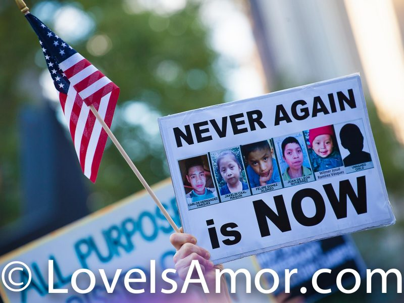 Friday, July 12, 2019. New York City - People gathered at Foley Square Park in Manhattan on Friday, July 12, 2019, to demand action from Congress to end concentration camps in the United States of America and impeach President Donald Trump. Photo by LoveIsAmor.com