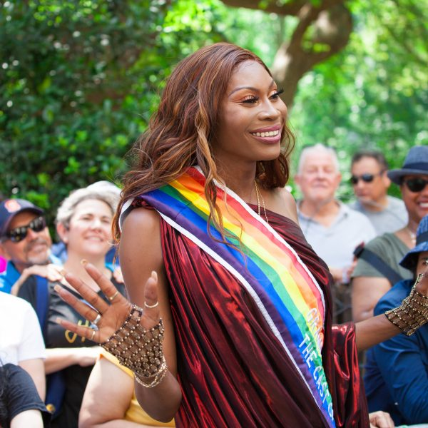 Sunday, June 30th, 2019. New York City - Grand Marshal. Dominique Jackson (Elektra), cast member of POSE at the NYC Pride March. POSE is a dance musical, set in the 1980s, that explores the juxtaposition of life and society in New York: the ball culture world, the rise of the Trump era, and the downtown social and literary scene. The 50th anniversary of the Stonewall Rebellion was on Friday, June 28th, 2019. People from around the world came to New York City to celebrate. Credit: Photo by LoveIsAmor.com