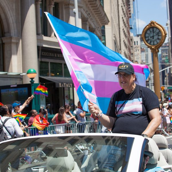 Sunday, June 30th, 2019. New York City - Grand Marshal. Monica Helms at the NYC Pride March. Monica Helms is a transgender activist, author, and veteran of the United States Navy, having served on two submarines. She is also the creator of the Transgender Pride Flag, in 1999, and subsequently donated the original flag to the Smithsonian Institution in 2014. The 50th anniversary of the Stonewall Rebellion was on Friday, June 28th, 2019. People from around the world came to New York City to celebrate. Credit: Photo by LoveIsAmor.com