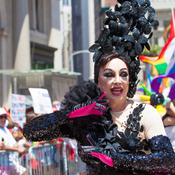 Sunday, June 30th, 2019. New York City - Drag Queen wearing a beautiful costume at the NYC Pride March. The 50th anniversary of the Stonewall Rebellion was on Friday, June 28th, 2019. People from around the world came to New York City to celebrate. Credit: Photo by LoveIsAmor.com