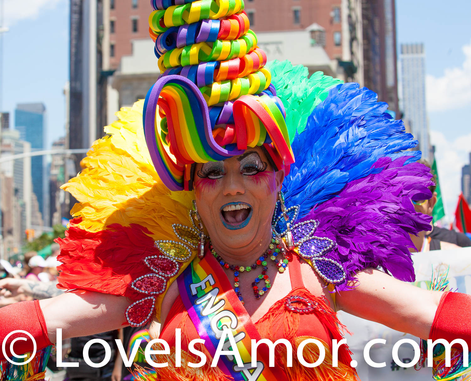 Sunday, June 30th, 2019. New York City - Woman wearing a beautiful costume at the NYC Pride March. The 50th anniversary of the Stonewall Rebellion was on Friday, June 28th, 2019. People from around the world came to New York City to celebrate. Credit: Photo by LoveIsAmor.com