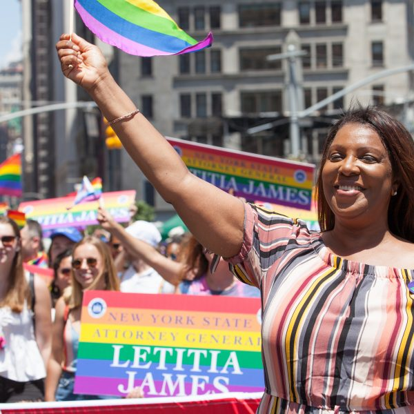 "Sunday, June 30th, 2019. New York City - New York State Attorney General Letitia ""Tish"" James at the NYC Pride March. The 50th anniversary of the Stonewall Rebellion was on Friday, June 28th, 2019. People from around the world came to New York City to celebrate. Credit: Photo by LoveIsAmor.com"