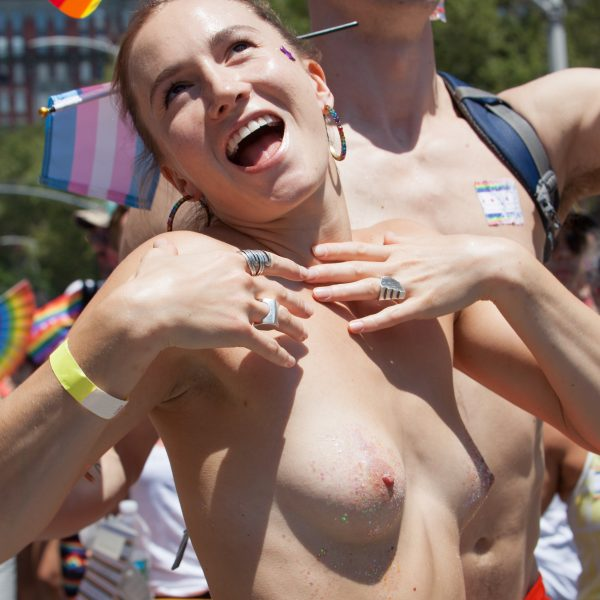 Sunday, June 30th, 2019. New York City - Topless woman at the NYC Pride March. The 50th anniversary of the Stonewall Rebellion was on Friday, June 28th, 2019. People from around the world came to New York City to celebrate. Credit: Photo by LoveIsAmor.com