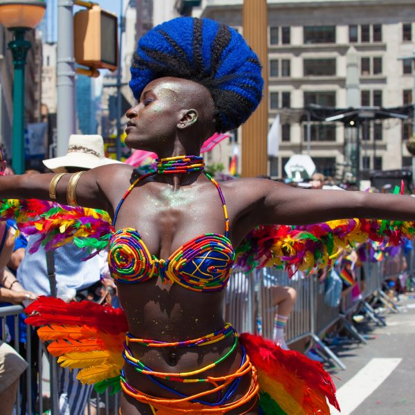 Sunday, June 30th, 2019. New York City - Black woman wearing a beautiful costume at the NYC Pride March. The 50th anniversary of the Stonewall Rebellion was on Friday, June 28th, 2019. People from around the world came to New York City to celebrate. Credit: Photo by LoveIsAmor.com