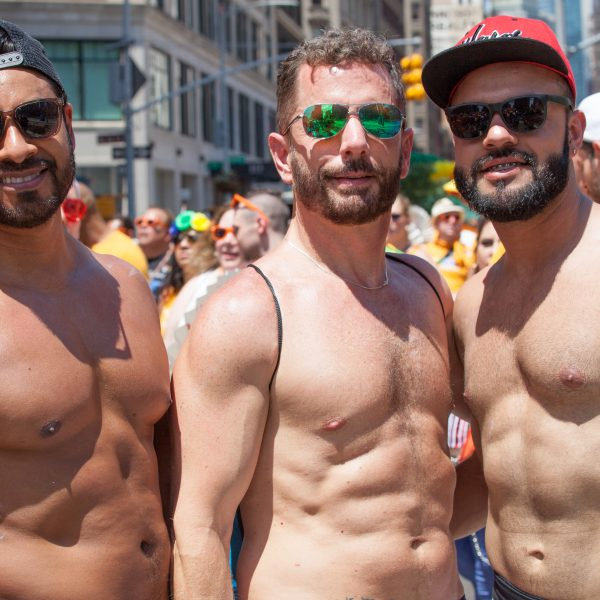 Sunday, June 30th, 2019. New York City - Shirtless men at the NYC Pride March. The 50th anniversary of the Stonewall Rebellion was on Friday, June 28th, 2019. People from around the world came to New York City to celebrate. Credit: Photo by LoveIsAmor.com