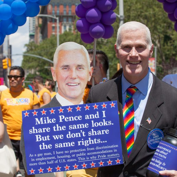 Sunday, June 30th, 2019. New York City - Gay man who looks like Mike Pence at the NYC Pride March. The 50th anniversary of the Stonewall Rebellion was on Friday, June 28th, 2019. People from around the world came to New York City to celebrate. Credit: Photo by LoveIsAmor.com