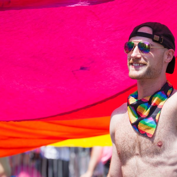 Sunday, June 30th, 2019. New York City - Shirtless man at the NYC Pride March. The 50th anniversary of the Stonewall Rebellion was on Friday, June 28th, 2019. People from around the world came to New York City to celebrate. Credit: Photo by LoveIsAmor.com