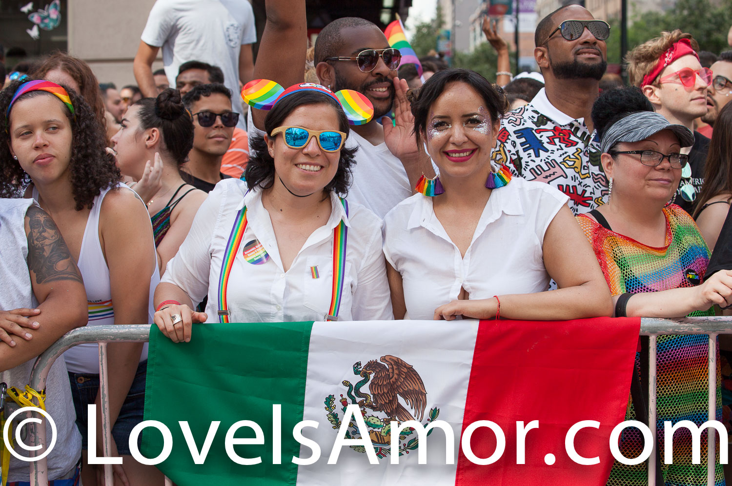Sunday, June 30th, 2019. New York City - Mexican women with the Mexican flag at the NYC Pride March. The 50th anniversary of the Stonewall Rebellion was on Friday, June 28th, 2019. People from around the world came to New York City to celebrate.