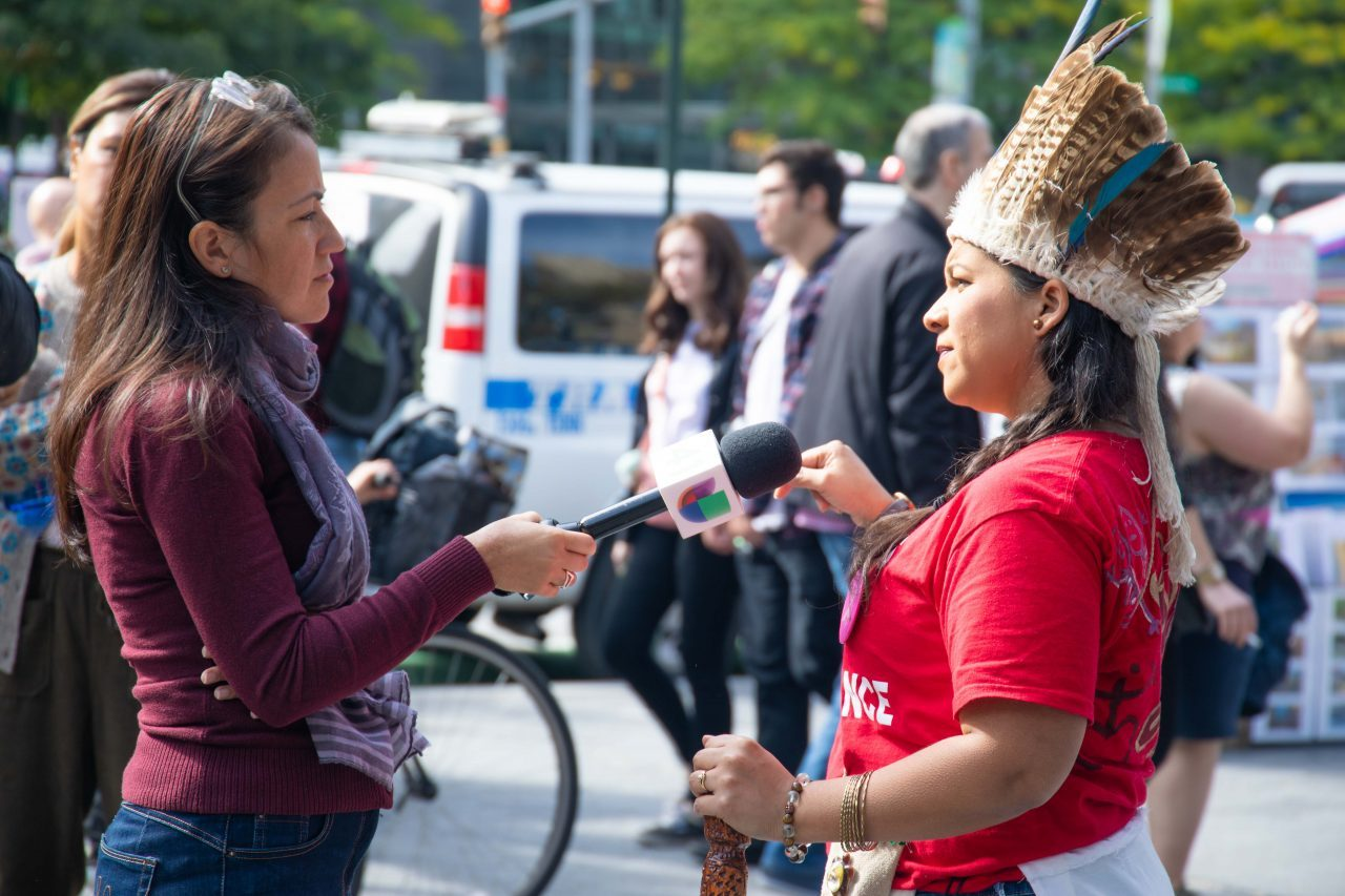 """Sunday, October 13th, 2019. Manhattan, New York City - Indigenous peoples and their allies gathered at Columbus circle (59th Street and Central Park West) to celebrate NYC's 12th Annual Indigenous Day of Remembrance. Some people celebrate Christopher Columbus Day. Indigenous peoples and their allies celebrate Indigenous Peoples' Day. Photo credit: """"Photo by Javier Soriano/LoveIsAmor.com"""""""
