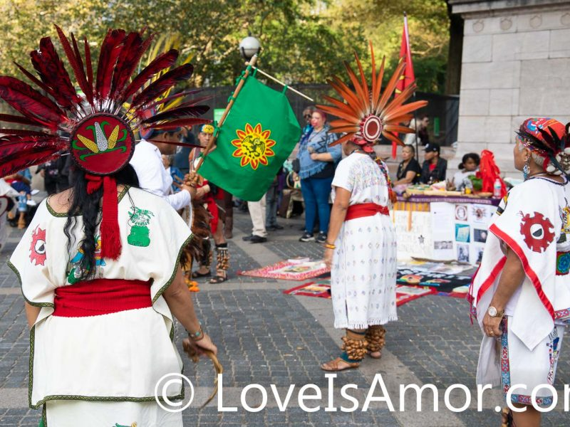 Sunday, October 13th, 2019. Manhattan, New York City - Indigenous peoples and their allies gathered at Columbus circle (59th Street and Central Park West) to celebrate NYC's 12th Annual Indigenous Day of Remembrance. Some people celebrate Christopher Columbus Day. Indigenous peoples and their allies celebrate Indigenous Peoples' Day. Photo by Javier Soriano/LoveIsAmor.com