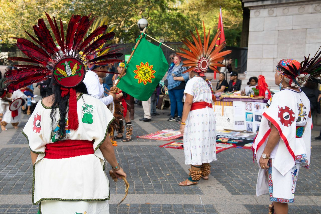 "Sunday, October 13th, 2019. Manhattan, New York City - Indigenous peoples and their allies gathered at Columbus circle (59th Street and Central Park West) to celebrate NYC's 12th Annual Indigenous Day of Remembrance. Some people celebrate Christopher Columbus Day. Indigenous peoples and their allies celebrate Indigenous Peoples' Day. Photo credit: ""Photo by Javier Soriano/LoveIsAmor.com"""