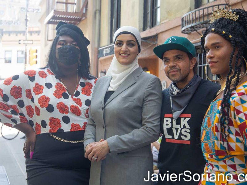 Thursday, May 27, 2021. Manhattan, New York City - Right to left: Trans woman Joe Rivera, unknown man, lawyer Tahanie Aboushi and Trans woman Qween Andy Jean. Photo by Javier Soriano/www.JavierSoriano.com